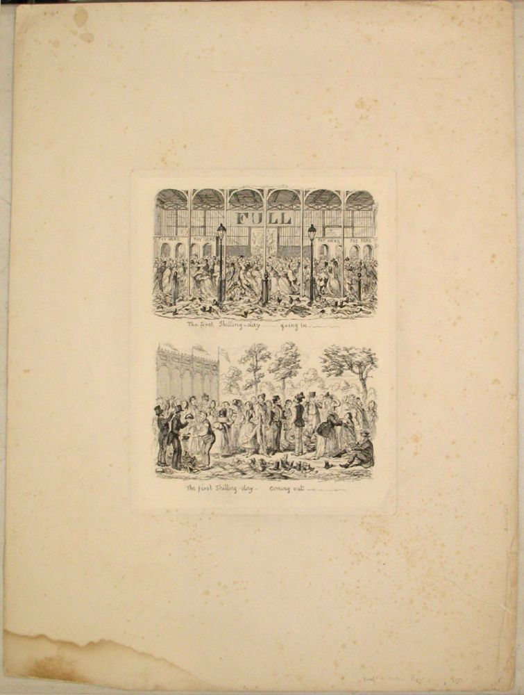 """Proof plate, """"The first Shilling-day - going in... (&) The first Shilling-day - coming out..."""", illustration from """"1851 or, The adventures of Mr. and Mrs. Sandboys and family: who came up to London to 'enjoy themselves,' and to see the Great Exhibition"""" George Cruikshank."""