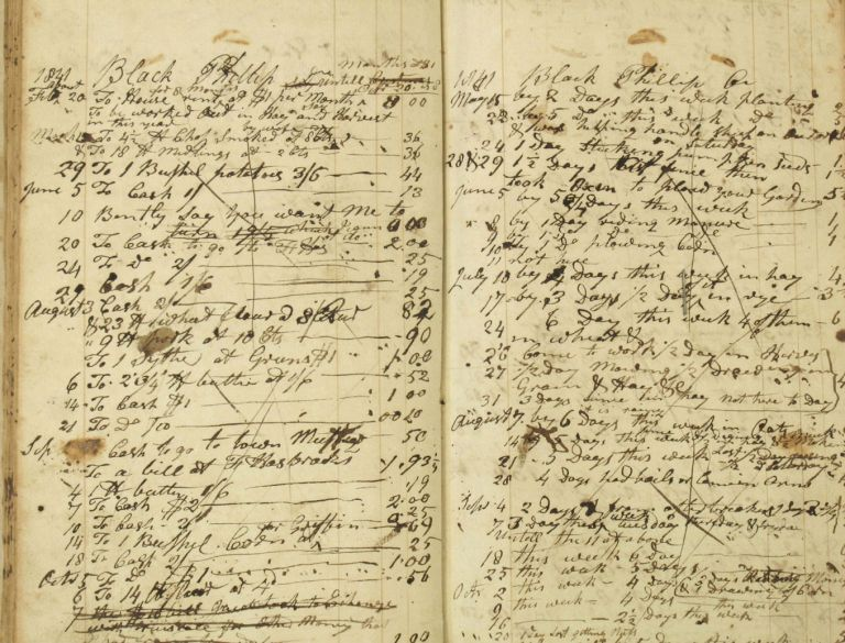 Pre Civil War Ledger recording free blacks working at Heaton Family Farm (John Heaton and Samuel Cooper Heaton), Amenia & Washington, Dutchess County New York, 1801-1843. Samuel Cooper Heaton.
