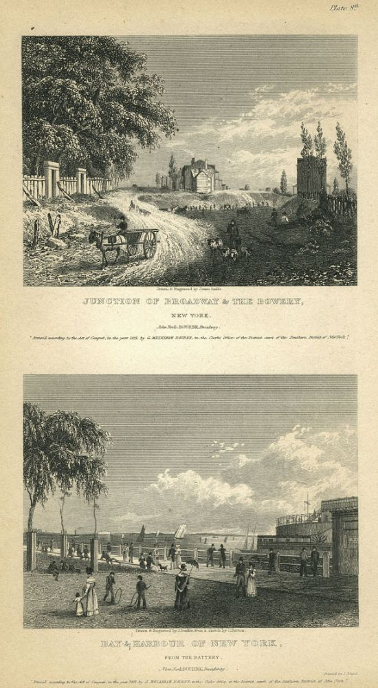 New York Views; the first attempt at recording day to day life in New York City. George M. publisher Bourne, Charles Burton, James Smillie, William Guy Wall, after.