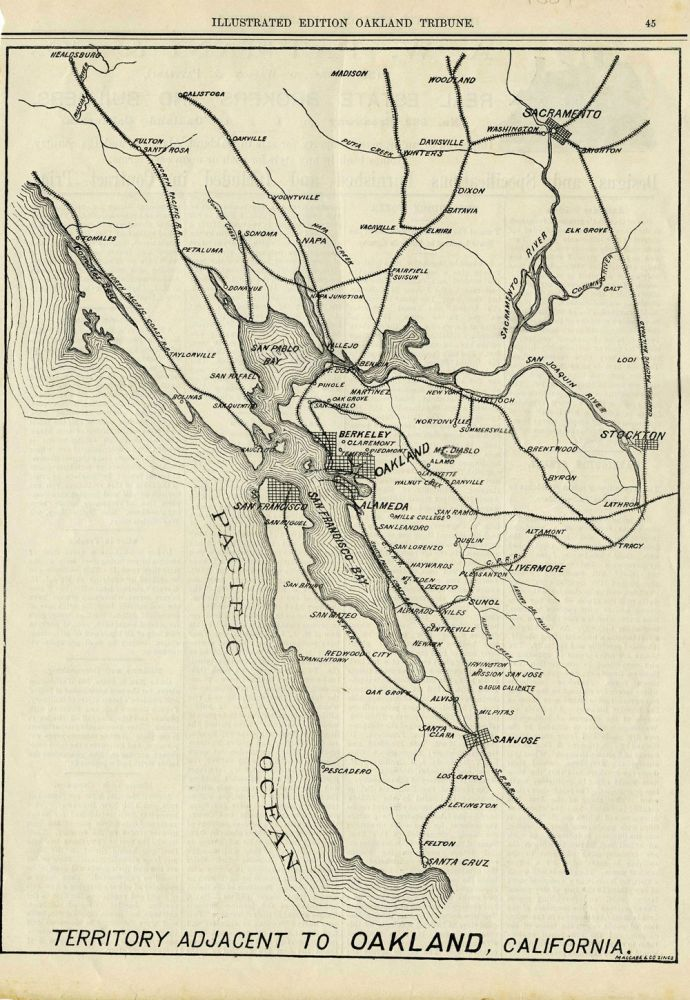 Oakland Tribune, Illustrated Edition, 1884: Territory Adjacent to Oakland, California. California Railroads.