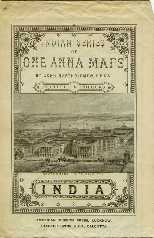 Indian Series of One Anna Maps, Printed in Colours: India. India Map, John Bartholomew, cartographer.
