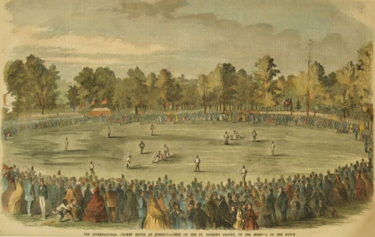 The International Cricket Match at Hoboken -- Scene on the St. George's Ground, on the Morning of the Match. Cricket.