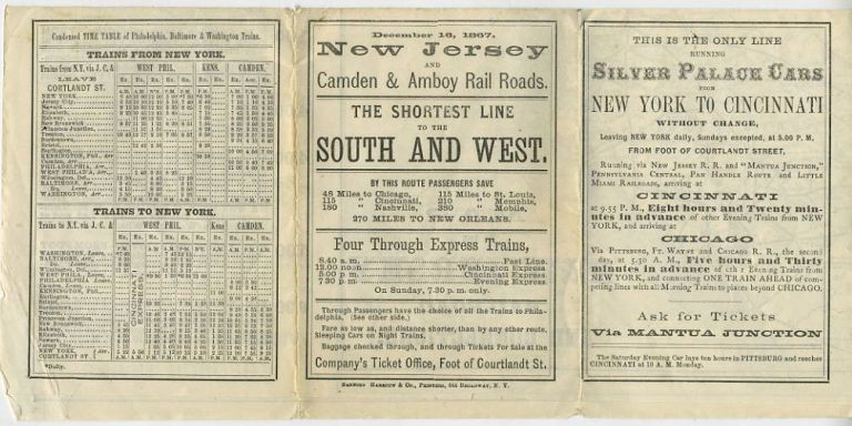 New Jersey and Camden & Amboy Rail Roads Time Table. December 16, 1867.
