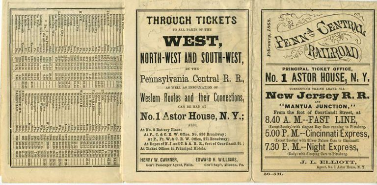 Penna. Central Railroad Time Table. February 1868.