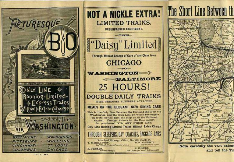 Picturesque B & O Time Table. July 1885.