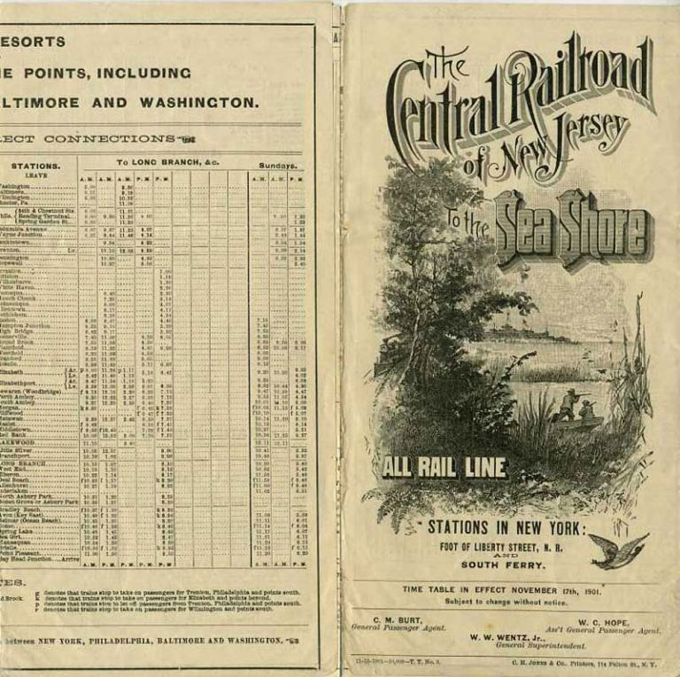 Central Railroad of New Jersey to the Sea Shore, time table.