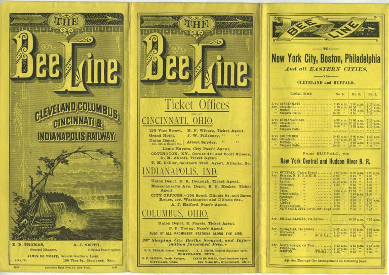 The Bee Line, Cleveland, Columbus, Cincinnati & Indianapolis Railway time table. July 1881.