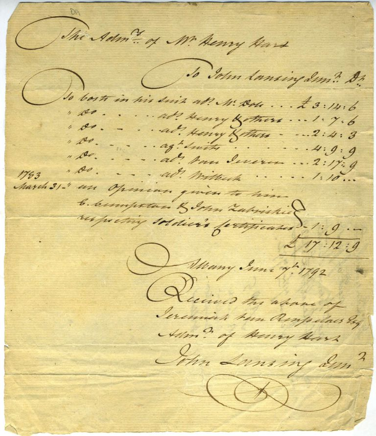 Legal Receipt for administering the estate of Mr. Henry Hart. Law, New York State.