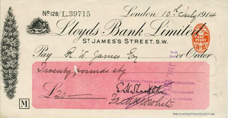 Autograph check from Shackleton fom his Imperial Trans-Antarctic Expedition, signed by Shackleton. Ernest H. Shackleton.