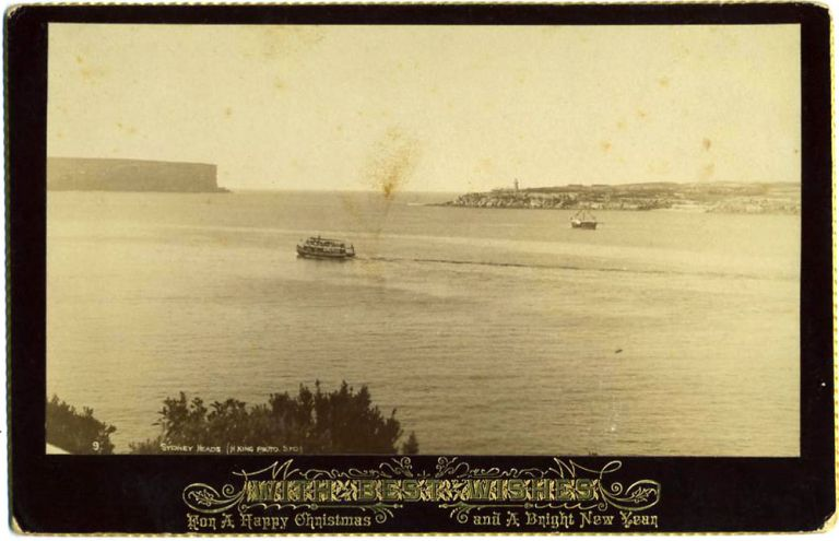 Sydney Heads. Real photo Christmas card. Henry King.