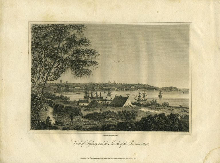 View of Sydney and the Mouth of the Parramatta. Engraving, George Cooke.