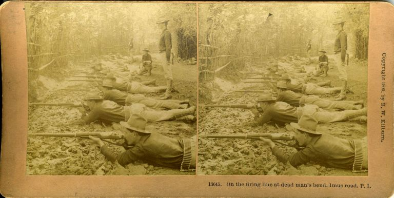 On the Firing Line at Dead Man's Bend, Imus Road, P. I. Philippines Stereoscopic view, Spanish American War.