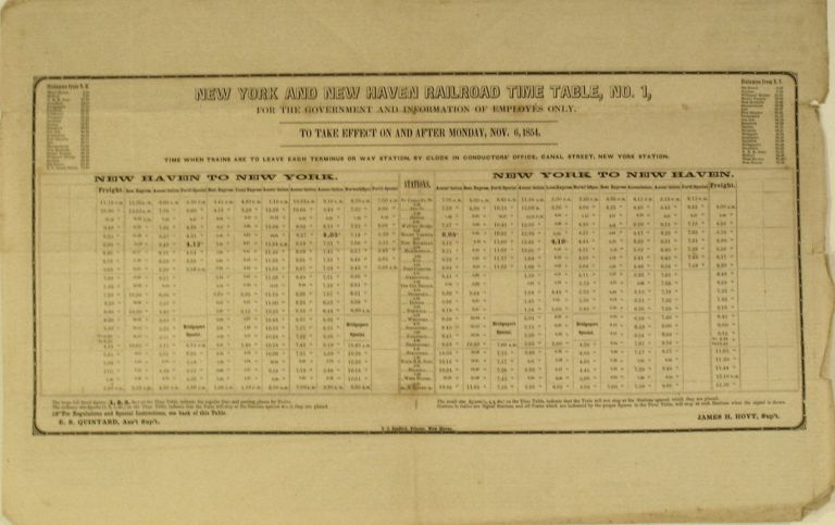 New York and New Haven Railroad Time Table, No. 1 .... Nov. 6, 1854. New Haven Line Metro North Railroad.