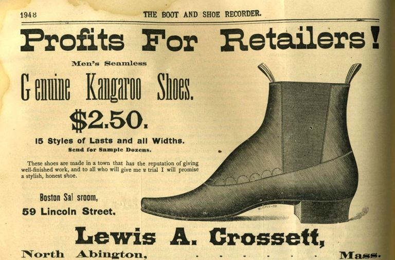 Boot And Shoe Recorder, trade catalog with advertisements for shoes made from kangaroo. Kangaroo shoes.