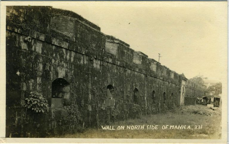 Wall on North Side of Manila (numbered 331) Real photo postcard. Philippines.