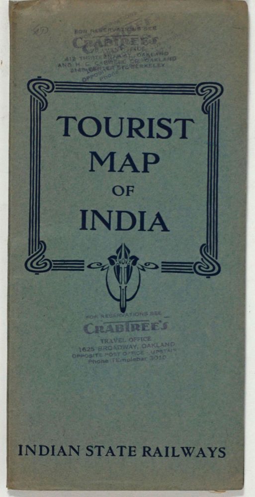 Tourist Map of India. Indian State Railways. Travel brochure, India.