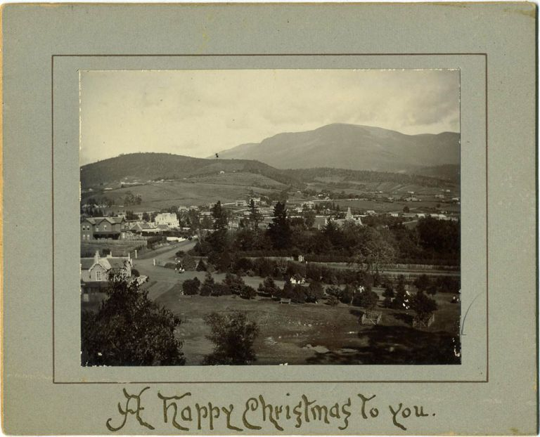 """New Town from the Domain [Tasmania], mounted on a stiff Christmas card """"A Happy Christmas to you"""" Photographic Christmas Card."""