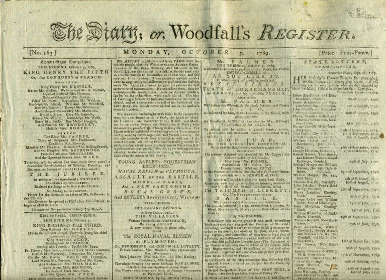 The Diary; or, Woodfall's Register: Newspaper including Advertisement for Theatre Royal, Covent Garden, The Death of Captain Cook. Cook play advertisement.