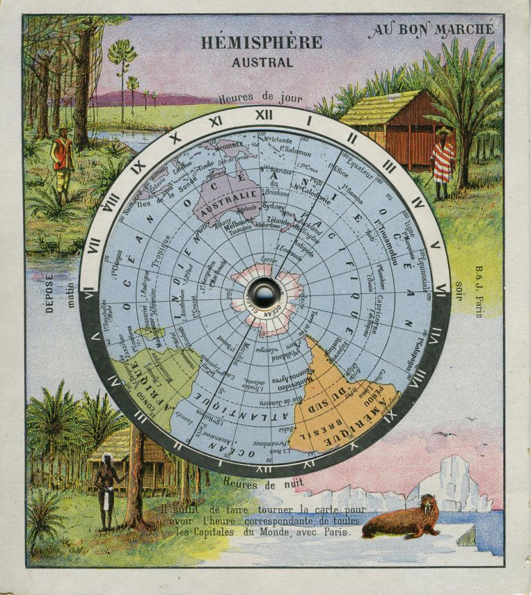 Hemisphere Austral. Mechanical Trade Card for the French retailer, Au Bon Marche. Advertising, Australian Map.