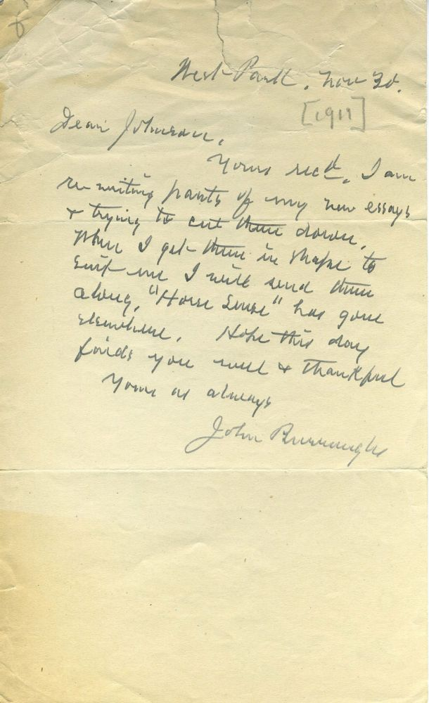 """ALS from John Burroughs to Johnson, referring to essays he is editing and """"Horse Sense"""" John Burroughs."""