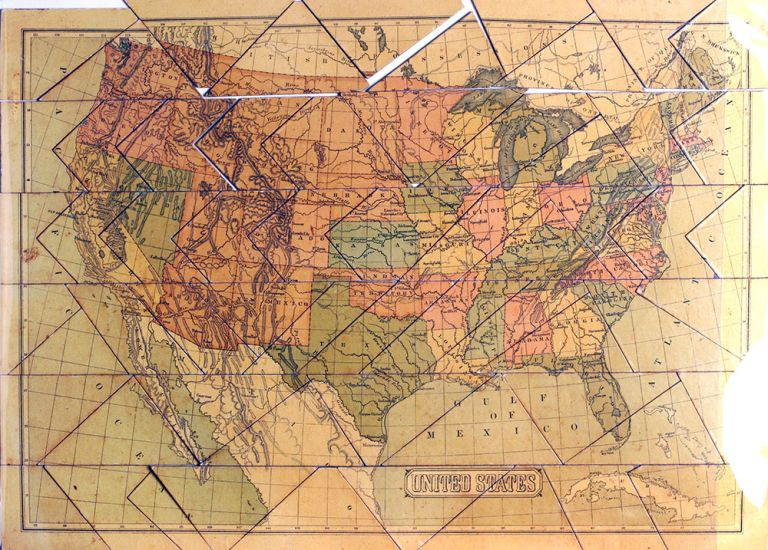 Dissected Map of the United States.