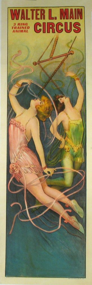 "Walter L. Main 3 Ring Trained Animal Circus poster showing two ""Iron Jaw"" female acrobats hanging by their teeth. Women Acrobats, Circus."