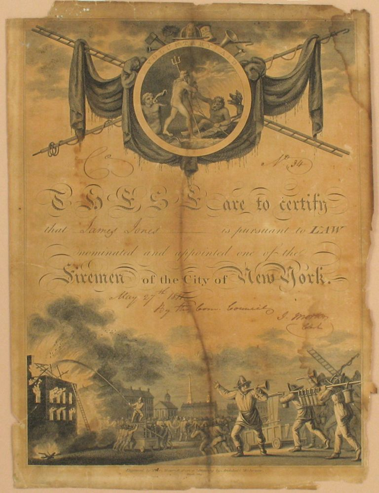 1811 Nomination and Appointment of James Jones, Fireman of the City of New York. Peter Maverick, Archibald after Robertson.