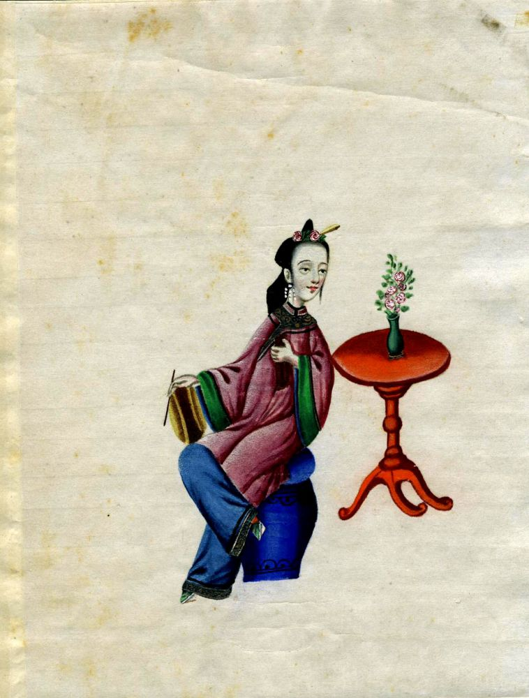 Hand painted Chinese Woman Musician - Girl with a Drum.