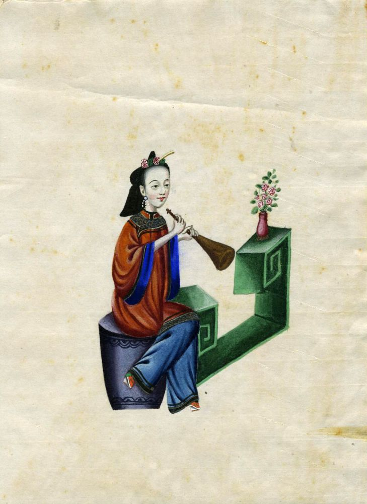 Hand painted Chinese Woman Musician - Girl with a Horn.