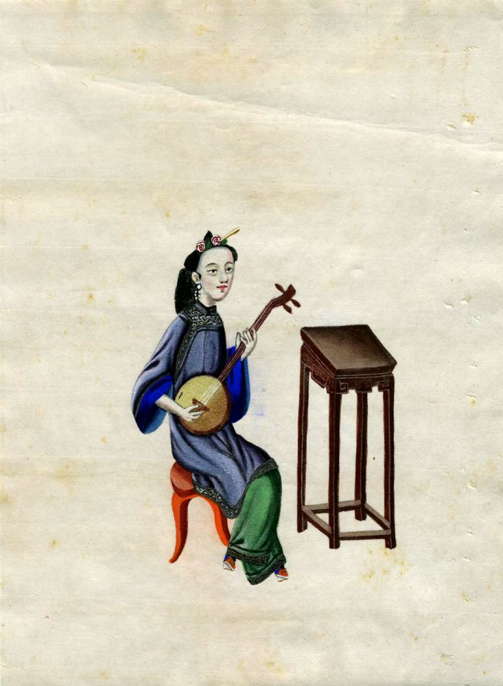 Hand painted Chinese Woman Musician - Girl with a Samisen.
