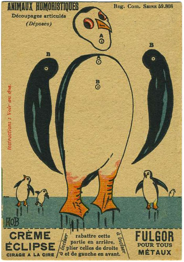 A penguin French advertising trade card, 'Animaux Humoristiques, Decoupages articules'. Antarctica.
