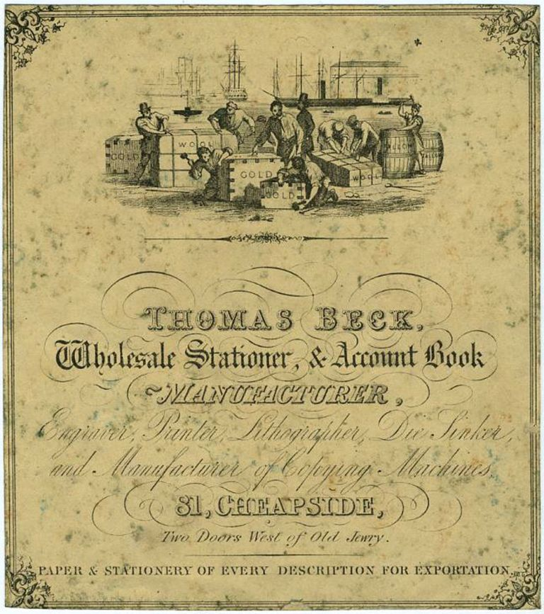 """Account Book Label Advertising for Thomas Beck, Wholesale Stationer, & Account Book Manufacturer, with vignette of dock workers and boxes marked """"Gold"""" and """"Wool"""" Australia, Gold, Mining, Wool."""