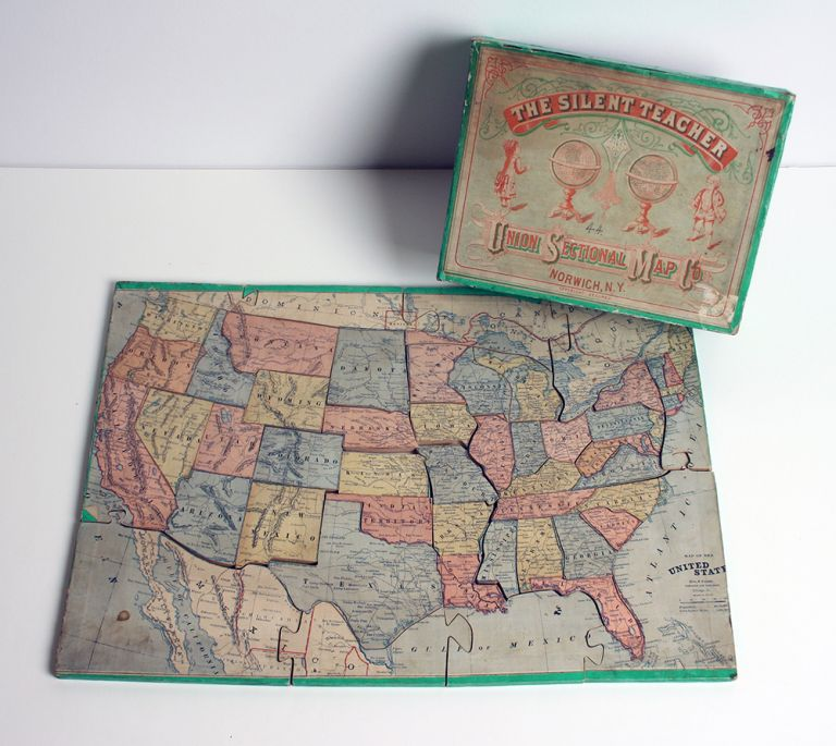 """The Silent Teacher. Norwich, N. Y. """"Map of the United States"""" Union Sectional Map Company."""