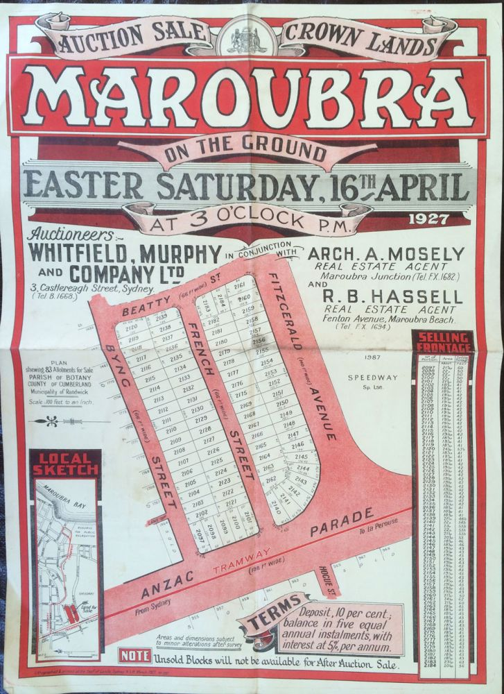 Auction Sale Crown Lands MAROUBRA. Land subdivision poster.
