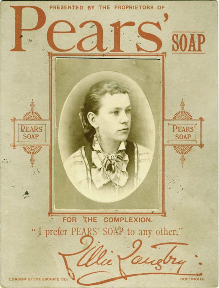 """Lillie Langtry albumen portrait, Pears' Soap advertising: """"I prefer Pears' Soap to any other"""" Lillie Langtry."""