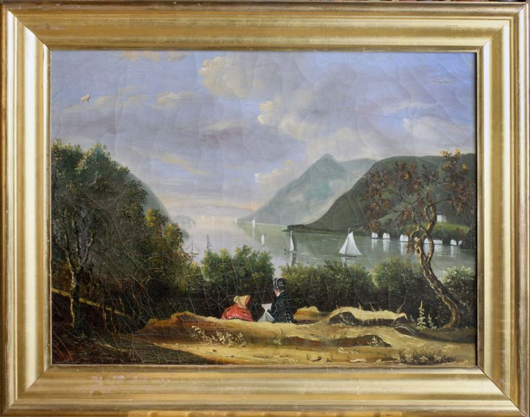 The Hudson Highlands from West Point; Oil Painting after Robert Weir. West Point, After Robert W. Weir.