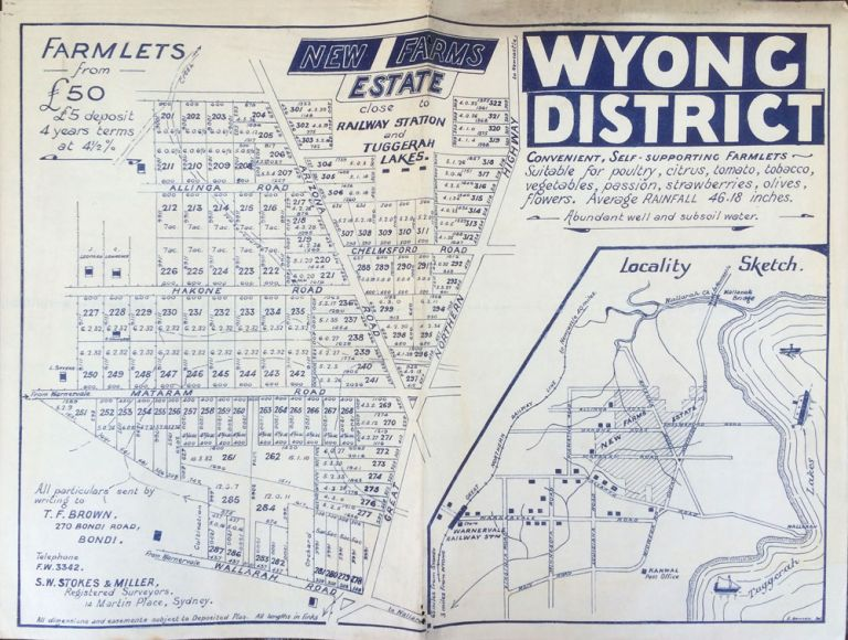 Wyong District, New Farms Estate. Land subdivision poster.