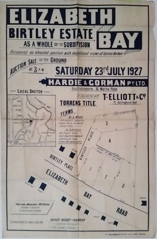 Elizabeth Bay, Birtley Estate. Land subdivision poster.