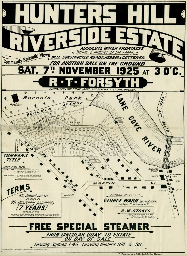 Riverside Estate Hunters Hill. Land subdivision poster.