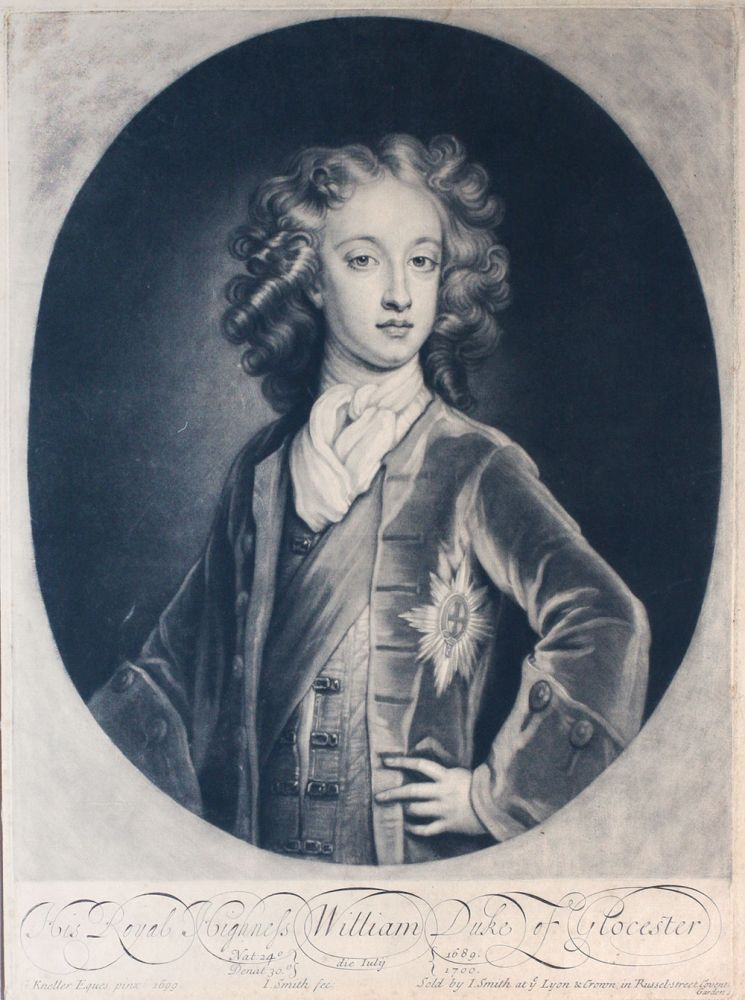 """His Royal Highness William Duke of Glocester"". Portrait. G. Kneller."