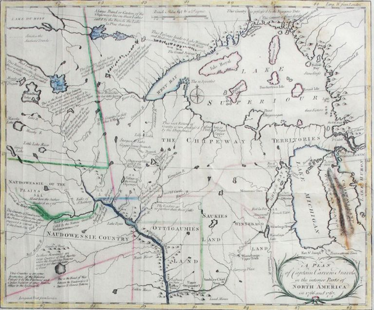 A Plan of Captain Carvers Travels in the interior Parts of North America. Jonathan Carver.