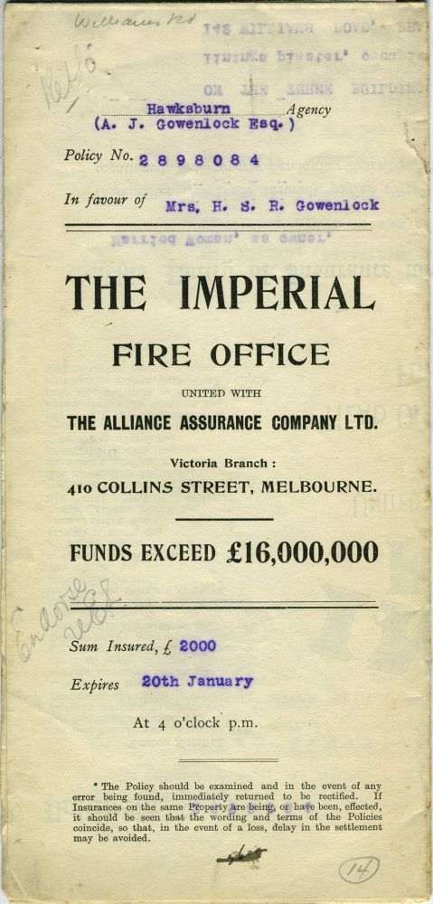 The Imperial Fire Office united with The Alliance Assurance Company Ltd. - Victoria Branch, Melbourne - policy dated 1910 for a property at 138, 149, 142 Williams Road, Prahran. Victoria, Insurance.