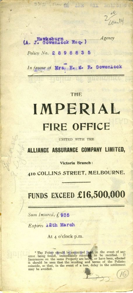 The Imperial Fire Office united with The Alliance Assurance Company Ltd. - Victoria Branch, Melbourne - policy dated 1910 for a property at 33 and 35 Lorne Road, Prahran. Victoria, Insurance.