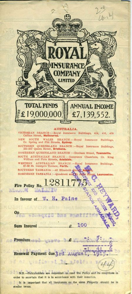 The Royal Insurance Company Limited - Victoria Branch, Melbourne - policy dated 1914 for household furniture and personal property at 27 Densham Road, Armadale. Victoria, Insurance.