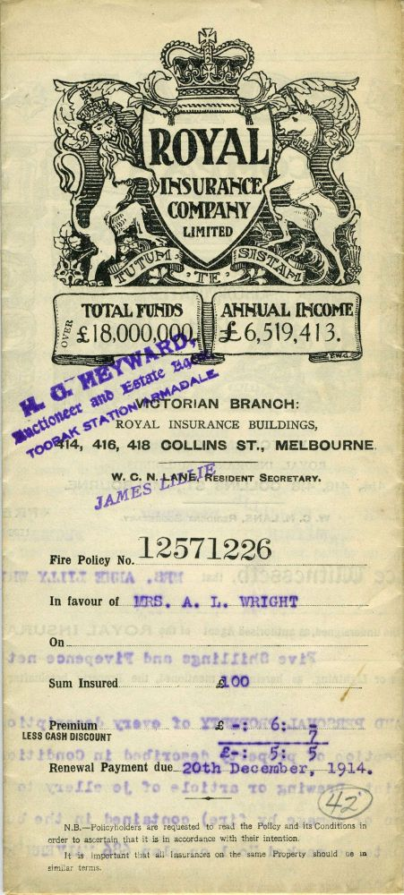 The Royal Insurance Company Limited - Victoria Branch, Melbourne - policy dated 1914 for household furniture and personal property at 686 Malvern Road, Armadale. Victoria, Insurance.