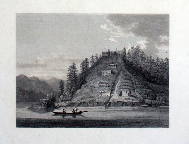 Proof plate, 'Village of the Friendly Indians at the entrance of Bute's Canal' [with] the printed edition. George Vancouver, Pacific Northwest.