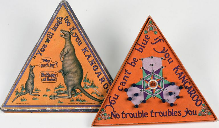 """Unusual triangular board game with pair of kangaroos and joey on front cover, printed with """"You will laugh too if you KANGAROO!"""" Childrens, Board game."""