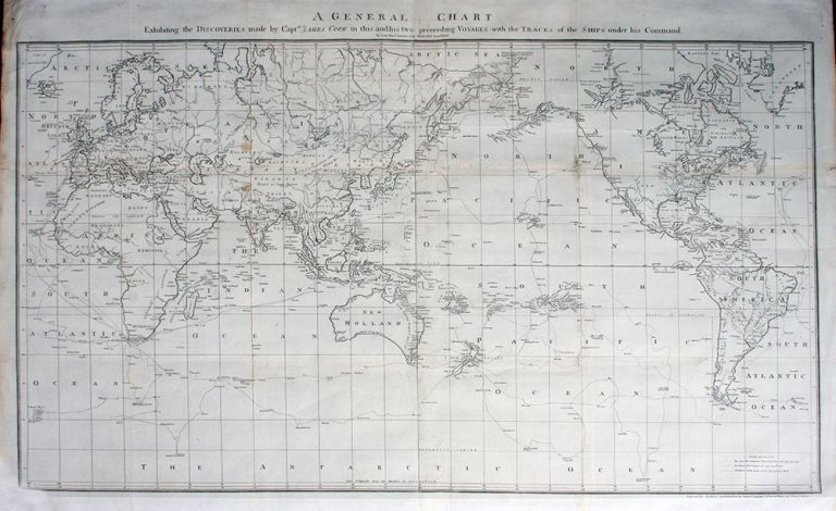 A General Chart Exhibiting the Discoveries made by Captn James Cook in this and his two preceding Voyages; with the Tracks of the Ships under his Command by Lieut Heny Roberts of His Majesty's Royal Navy. Lieut. Henry Roberts, engraver rne, printer rne.