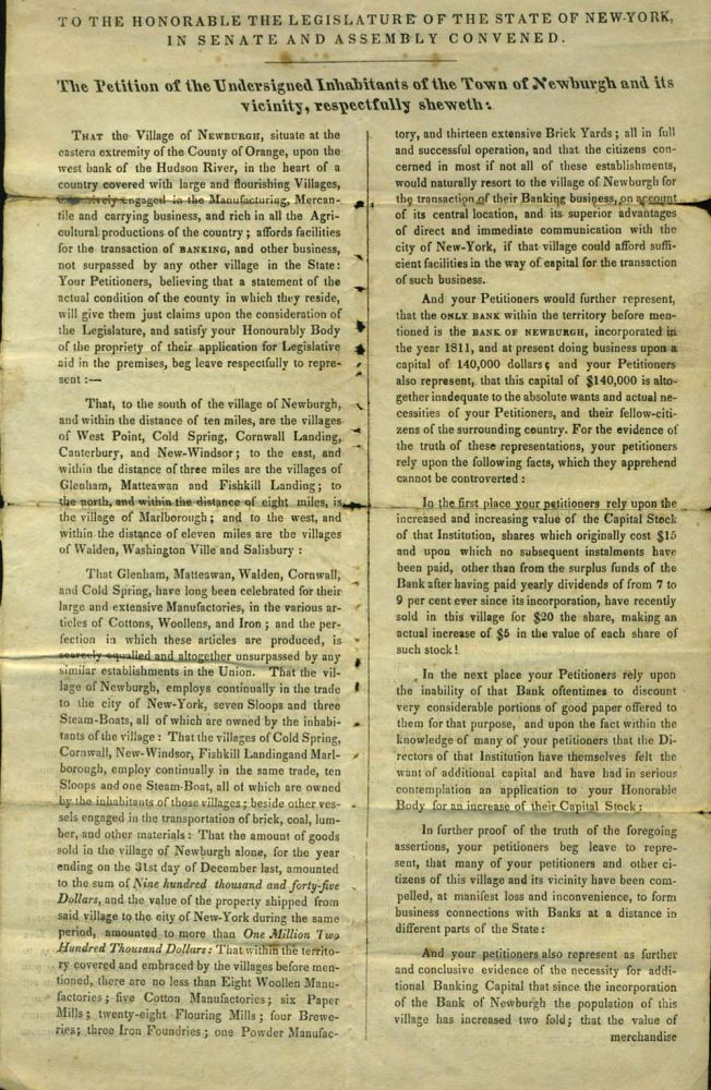 1832 Petition from Inhabitants of Newburgh, NY to Legislature requesting the establishment of an additional bank. NY Newburgh.