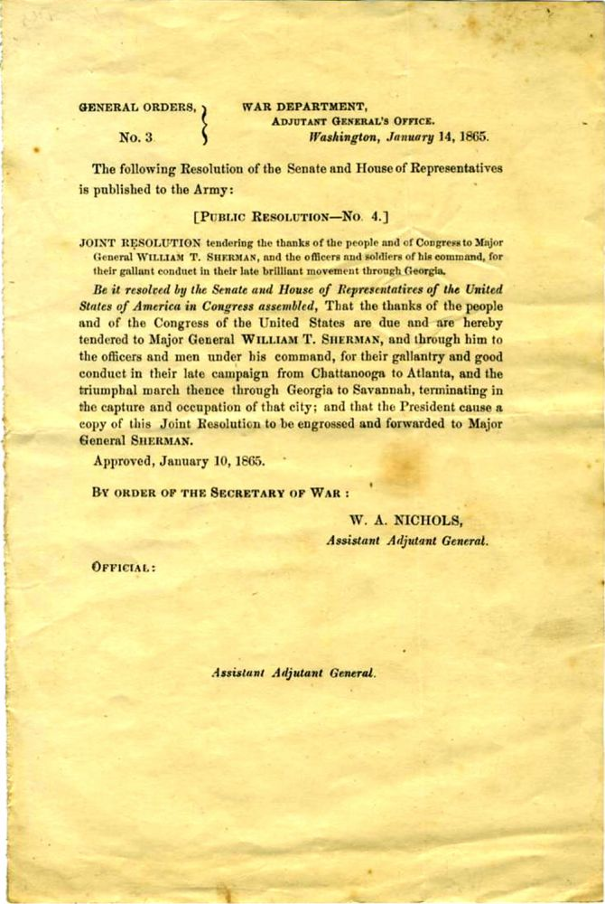 1865 Joint Resolution of the Senate and House of Representatives, tendering thanks to General William T. Sherman for his march through Georgia. Civil War.
